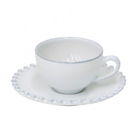 Šálek s podšálkem na espresso Pearl bílý 90ml