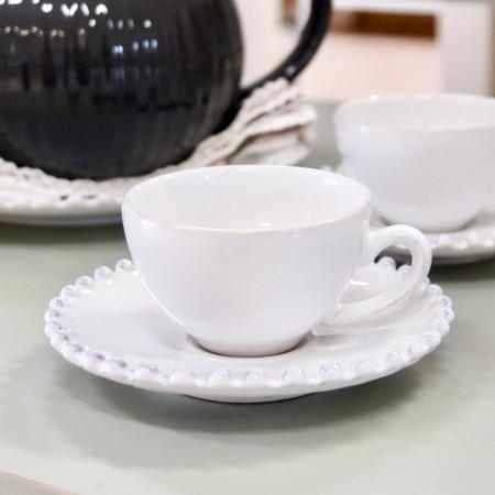 Šálek s podšálkem na espresso Pearl bílý