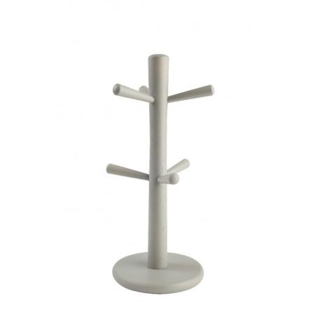 Dřevěný stojan na hrnky šedý