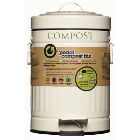 Koš na kompost s pedálem krémový