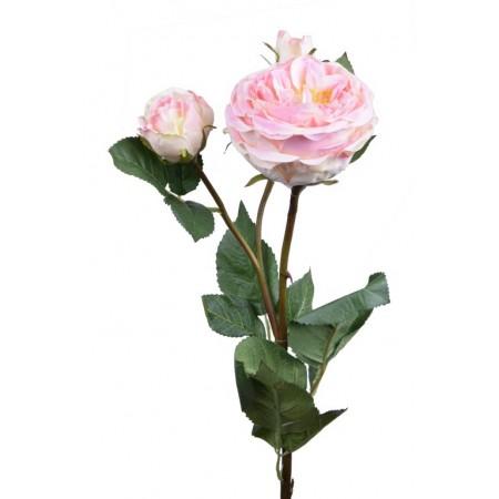 Umělá květina Růže bílorůžová