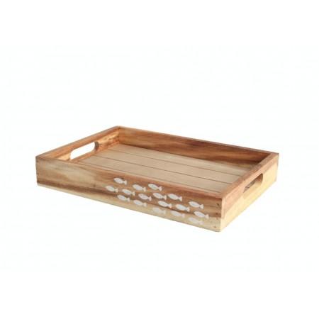 Dřevěný rustikální podnos Ocean 30x21cm