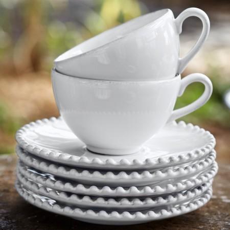 Šálek s podšálkem na čaj Pearl bílý 250ml