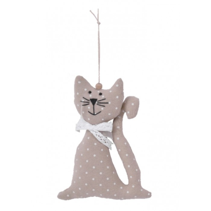 Dekorativní závěsná látková kočka krémová