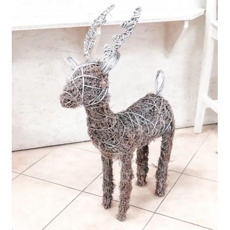 Dekorativní vánoční sob z proutí 83cm
