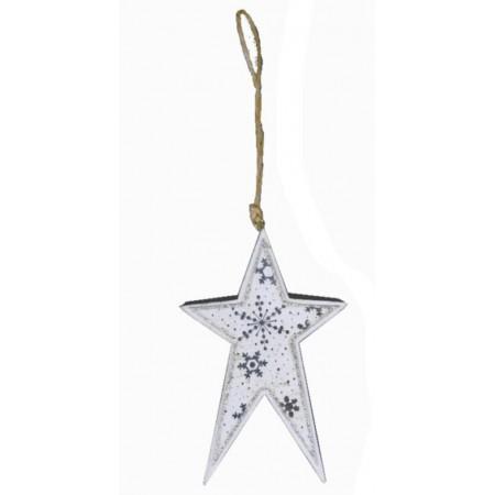 Bílá dřevěná ozdoba Hvězda