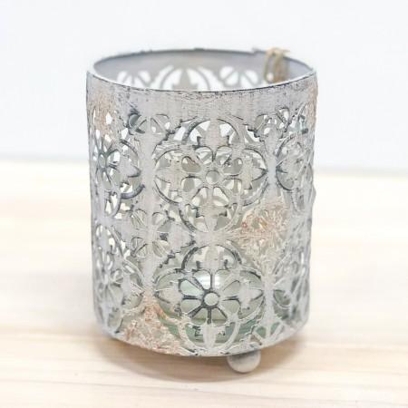 Patinovaný plechový svícen Ornament