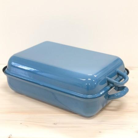 Smaltovaný pekáč s poklopem Riess modrý 37x26cm