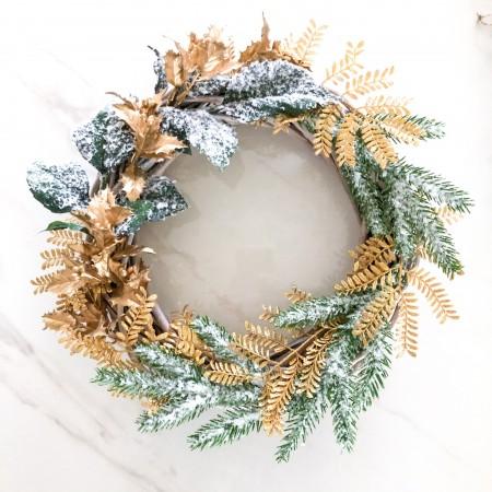 Dekorativní věnec na dveře Zlaté Vánoce 30cm