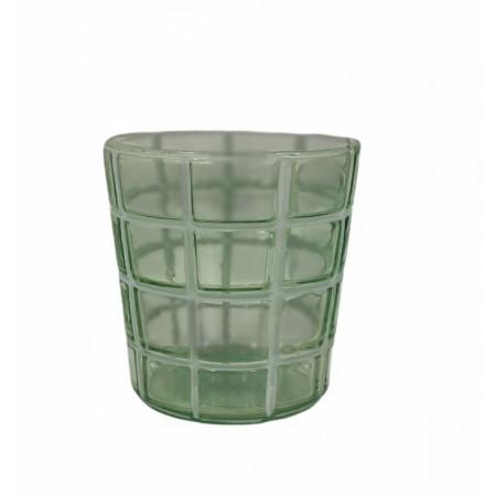 Zelený skleněný svícen Checked