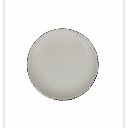 Bílý dekorativní talíř s patinou 22cm