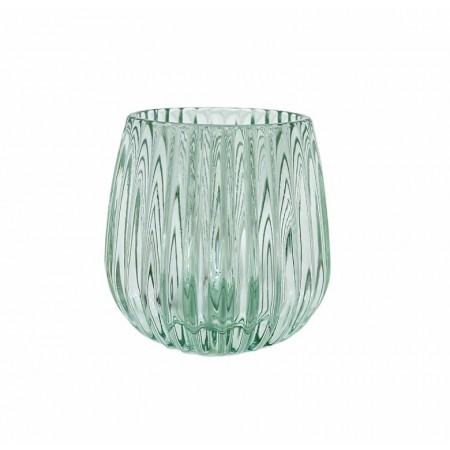Zelený skleněný svícen na čajovou svíčku Elegant