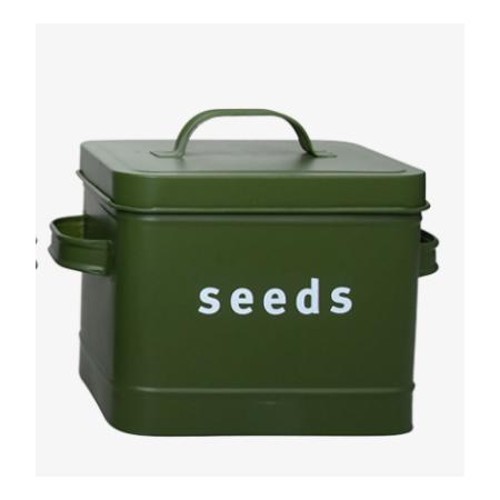 Plechová dóza na semínka Seeds tmavě zelená