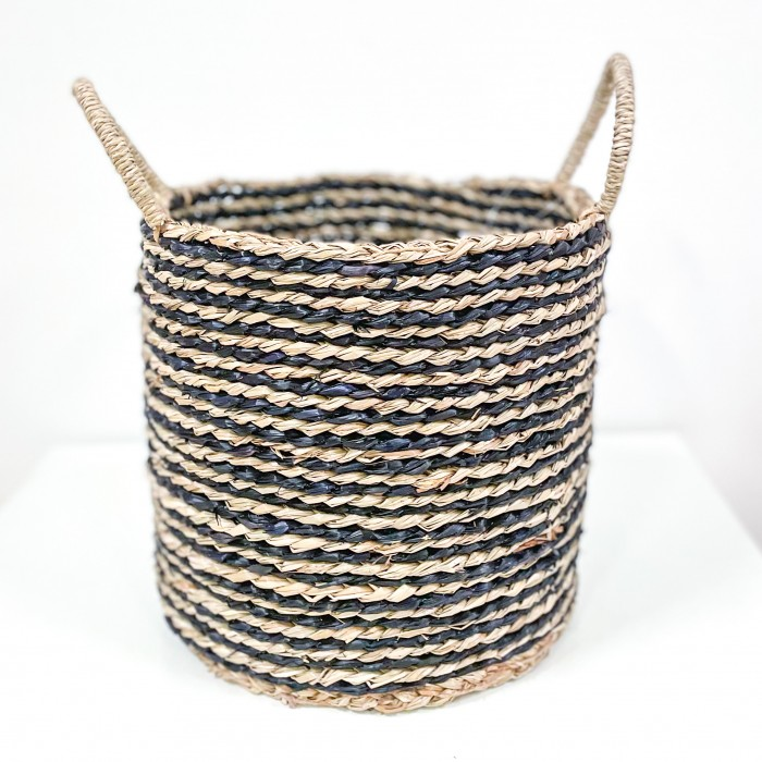 Dekorativní koš z mořské trávy Stripe 35cm
