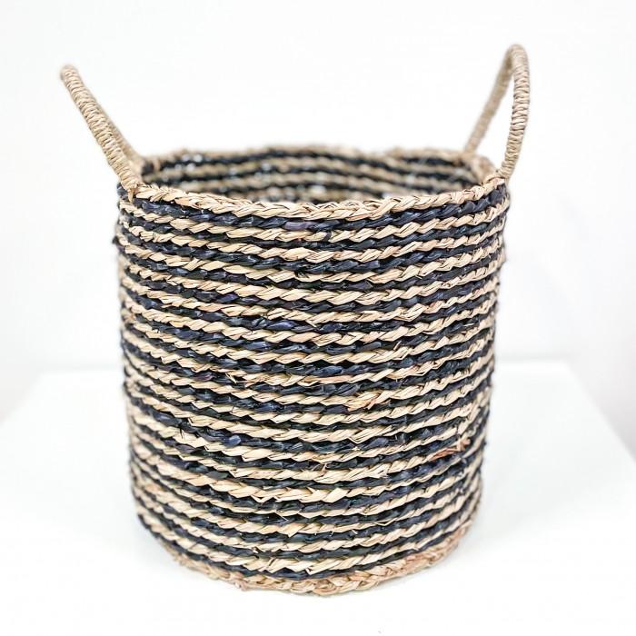 Dekorativní koš z mořské trávy Stripe 30cm