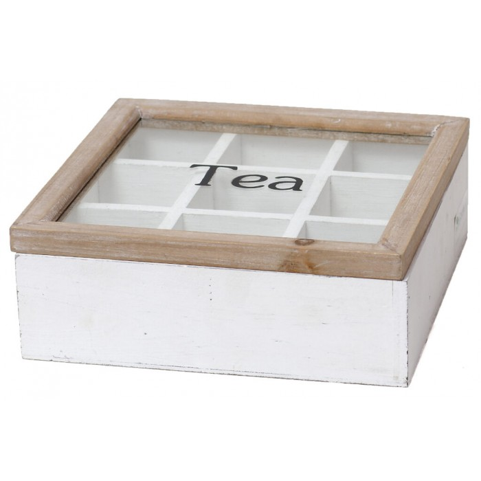 Dřevěná krabička na čajové sáčky Tea