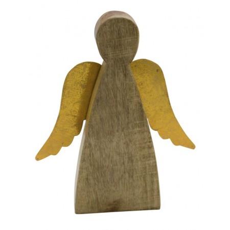 Dřevěný anděl se zlatými křídly 17cm